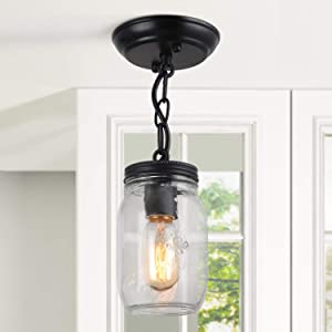 "Flush Mount Ceiling Light, Mason Jar Lights for Kitchen, Hallway, 6.7"" H x 3.9""W"
