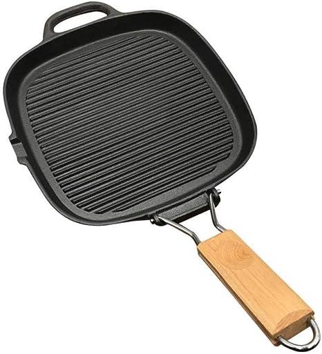 Freír pescado a la parrilla del hogar Pansteppanyaki Pan multi-función antiadherente engrosada Cast Iron bistec Pan manija plegable: Amazon.es: Hogar