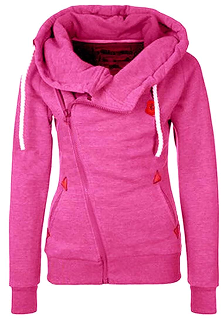 S-Fly Womens Funnel Neck Oblique Zip Hoodie Hooded Sweatshirts Jacket
