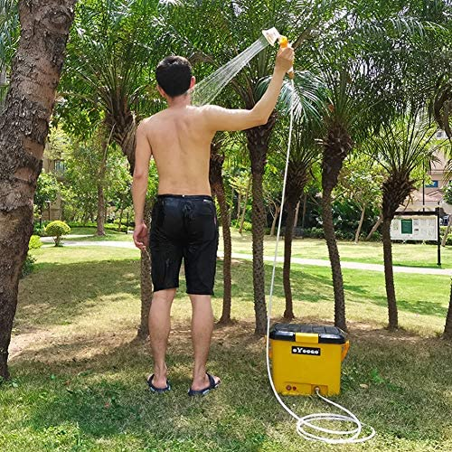 OYOOQO Lithium Rechargeable Outdoor Shower Portable Camping Shower Electric Pressure Shower Good for Surfing,Diving,Fishing,Road Trip,Caravan Trip,Pet Shower,12V Car Powered Shower 6.6 Gallons