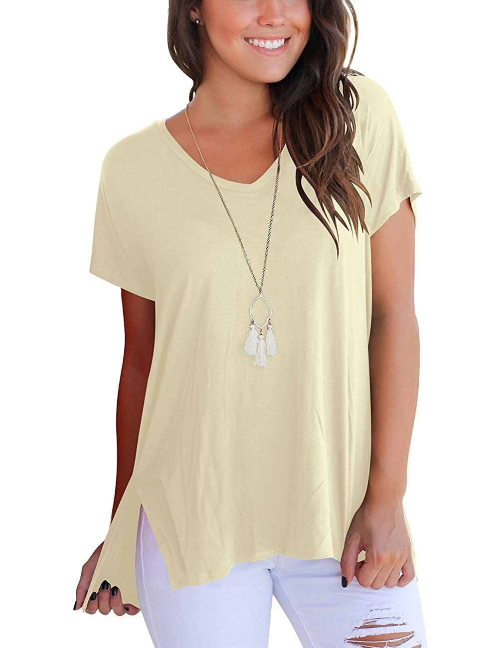 ef3f4129a224 Imported; Pull On closure; V neck, short sleeve, solid, plain, stretchy tee,  jersey top,split in side,high low tshirt., ...
