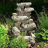 Sunnydaze Rock Falls Outdoor Water Fountain with LED Lights, 34 Inch Tall For Sale