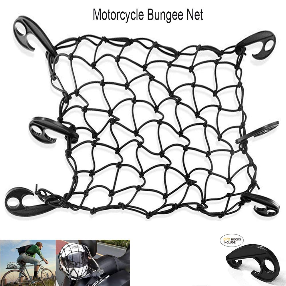 LATIT Cargo Net, Elastic Bungee Cord Luggage Net, Stretches Mesh Net with 6 Adjustable-Placement ABS Hooks for Truck/Motorcycle/Bike/SUV/ATV - 16\