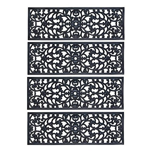 Rubber Stair Treads -  Set of 4 - 30 Inch Wide Outdoor Black Scrollwork Rubber Non-Slip Stair Treads Mat (Best Wood For Decks In Canada)