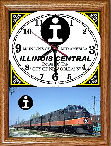 """Illinois Central Railroad """"City of New Orleans"""" Wood Framed Clock"""
