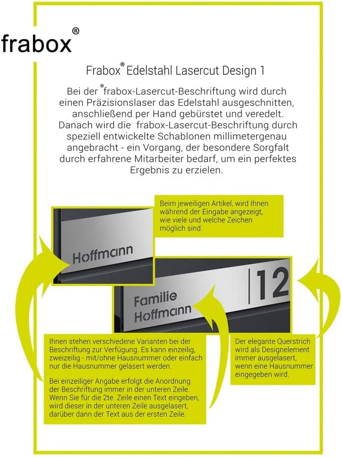 Zeitungsfach Frabox/® Briefkasten LENS Edelstahl//anthrazitgrau RAL 7016 Hausnummer /& Namen