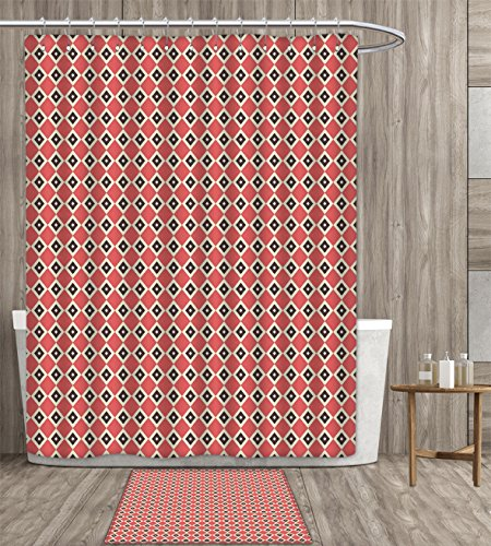haommhome Geometric Shower Curtain personality Diagonal Stripes with Big and Small Squares Inside Repetitive Pattern Bathroom Accessories 64x72 inch Cream and Dark Coral gift bath rug