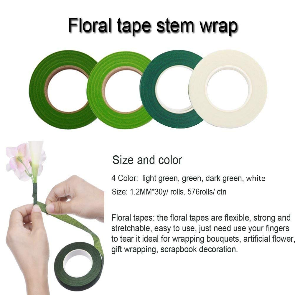 Woohome Herramienta Florales 1//2 Cinta Floral Verde Stem Tape Alambre Floral Wire 26 y 4 1//2 Inch Cortador de Alambre Alambre Floral de Calibre 22
