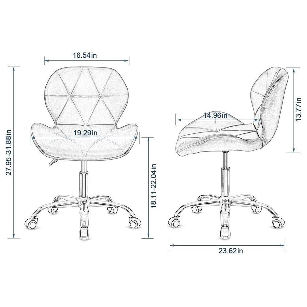 Kontorsstol skrivbordsstol skrivbordsstol för hem, bekväm kontorsstol justerbar höjd datorstol med krombas vadderad svängbar barnstol, hemmakontor möbler (färg: B) D