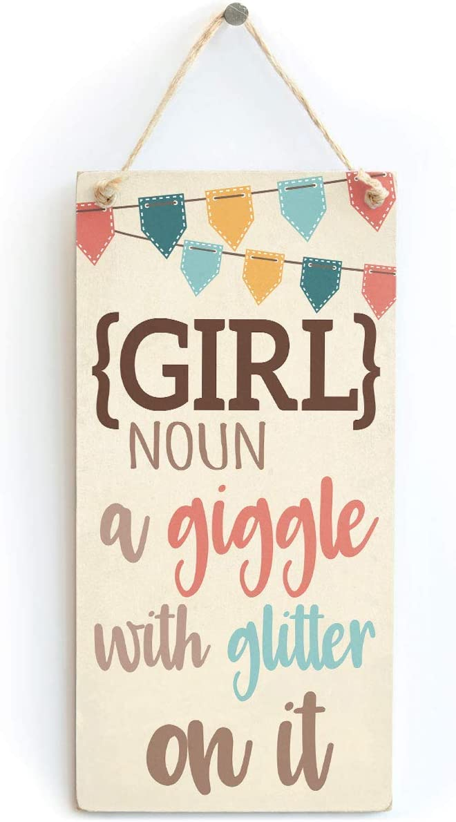 "Meijiafei Girl Room Decor - Girl a Giggle with Glitter on it-Cute Girls Decor Sign Plaque 10"" X 5"""