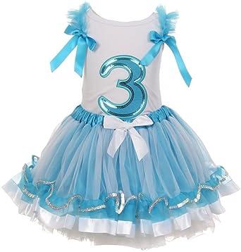1dce5ae525 Amazon.com  Little Girls Birthday Number Shirt 2 Piece Tutu Skirt Set  Dresses  Clothing