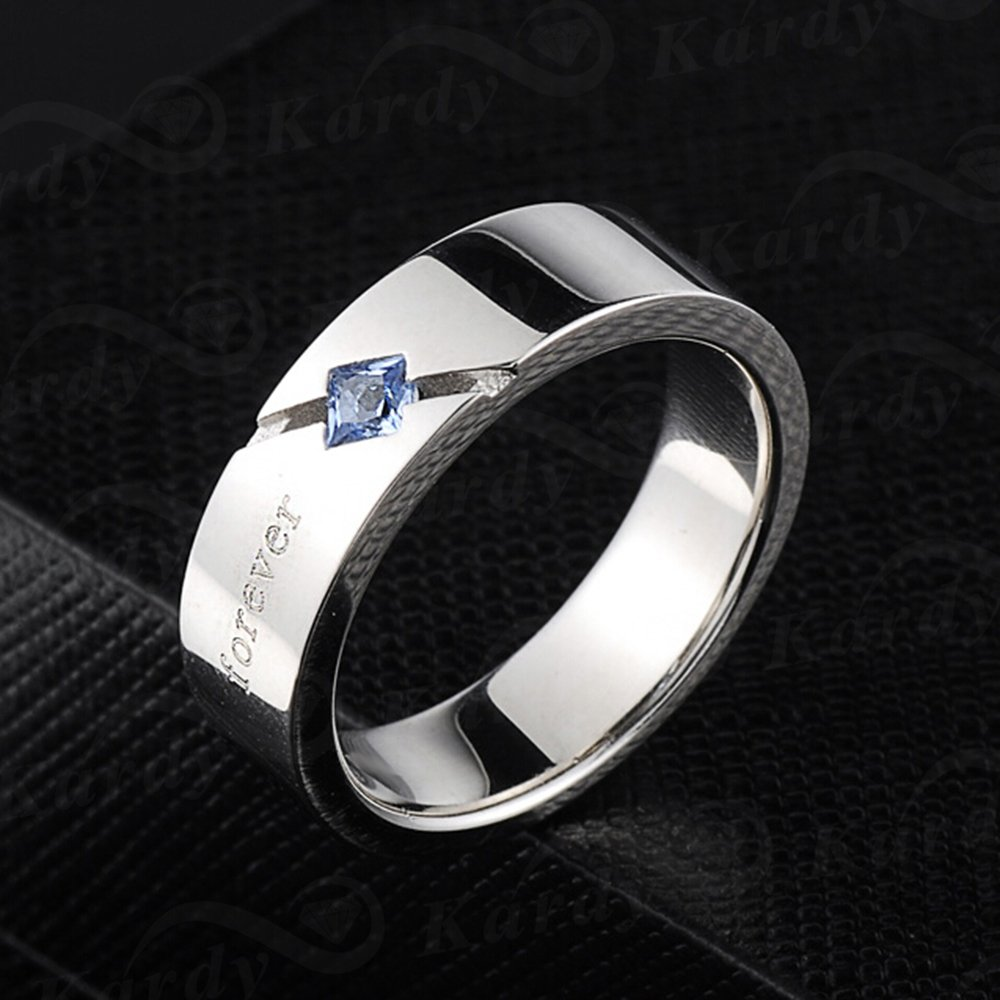 Men's Natural Blue Spinelle Gemstone Solid 925 Silver Gold White Plated Engagement Wedding Promise Fashion Band Ring Set by Kardy (Image #4)