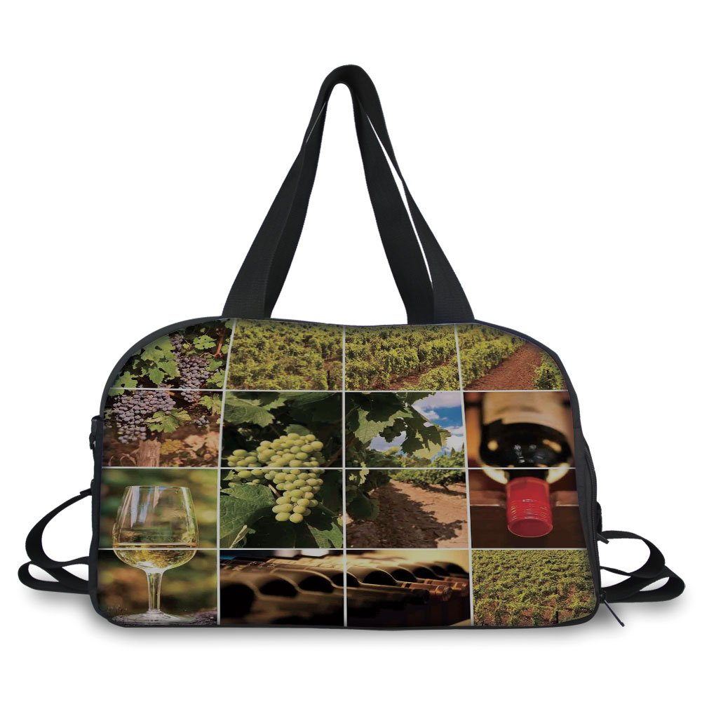 iPrint Travel handbag,Vineyard,Vineyard Landscapes Purple Grapes French Bottle Glass Rustic Cellar Couples,Green Red Brown ,Personalized