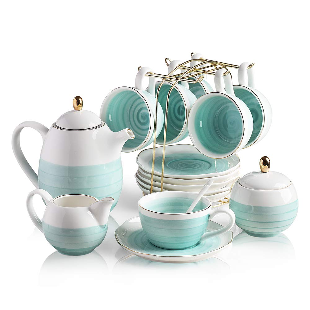 Sweejar Porcelain Tea Sets,8 oz Cups and Saucer Teaspoon Set of 6, with Teapot Sugar Bowl Cream Pitcher and tea strainer for Tea/Coffee,Afternoon Tea pot