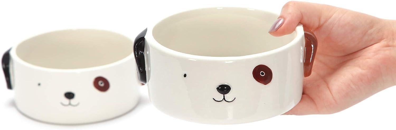 Kurrajong Farmhouse Set of 2 Ceramic Dog Bowls for Small Dogs - 4.5