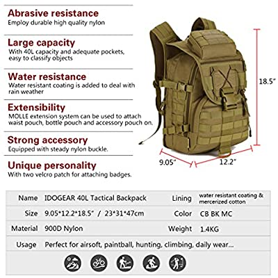 IDOGEAR 40L Tactical Backpack Molle Assault Pack 900D Nylon Water Resistant Military Army Shoulder Bag Travelling Climbing Airsoft School Hiking Bug Out Backpacks