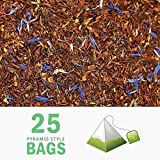 Tealyra - Rooibos Earl Grey - 25 Bags - Caffeine-Free - Herbal Loose Leaf Tea - Red Bush Tea with Bergamot oil - Claming and Relaxing Blend - Pyramids Style Sachets