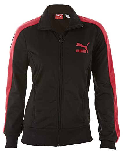e09404d6da403 Amazon.com: Puma Womens T7 Track Jacket, Black/Virtual Pink, Small ...