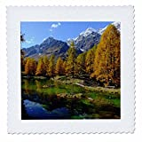 3dRose Cities Of The World - Valle Daosta Mirror Lago Bleu Lake Aosta Valley In Italy - 12x12 inch quilt square (qs_268655_4)
