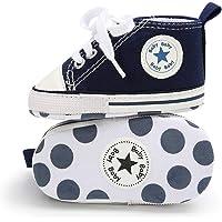 Babycute Spädbarn kanvasskor träningsskor mjuk sula vardagliga sneakers baby pojkar flickor första promenadskor snörning
