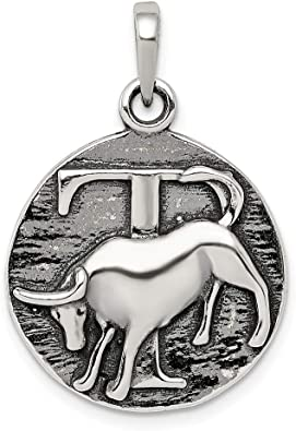 sterling silver black Taurus charm
