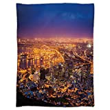 Super Soft Throw Blanket Custom Design Cozy Fleece Blanket,City,Cape Town Panorama at Dawn South Africa Coastline Roads Architecture Twilight,Marigold Blue Pink,Perfect for Couch Sofa or Bed