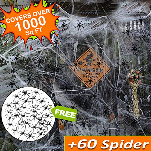Halloween Decoration Clearance Giant Spider Web Stretch 1000 Sq Ft with 60 Fake Spider for Outdoor Indoor Large Cobweb Spider Silk House Window Door Garden Costume Party Favor Mischievous