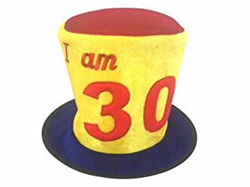 Birthday Hat Ages 30 Tall Colourful Made From Soft Plush Material