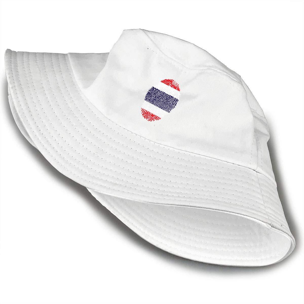 NDFGR Thailand Unisex Cotton Packable Black Travel Bucket Hat Fishing Cap