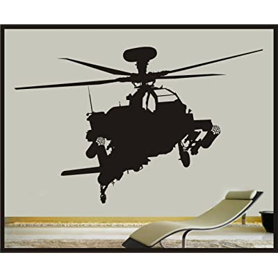 "CELYCASY Military Apache Attack Helicopter Vinyl Wall Decal - 27""x47"" Sticker - War Army Removeable Wall Art Childrens Boys Room Matte Black: Kitchen & Dining"