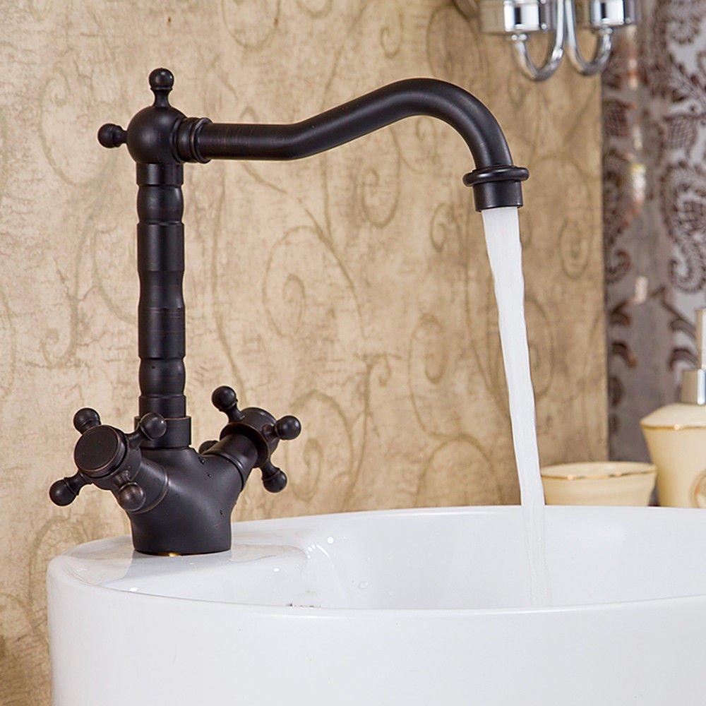 NewBorn Faucet Küche oder Badezimmer Waschbecken Mischbatterie Wasserhahn Schwarz Schwarz Antik Kochtöpfe Universal Kunst Kupfer Cold-Hot Wasser Höhe 360 Grad Tippen.
