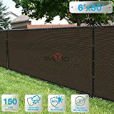 PATIO Paradise 6′ x 50′ Brown Fence Privacy Screen, Commercial Outdoor Backyard Shade Windscreen Mesh Fabric with Brass Gromment 85% Blockage- 3 Years Warranty (Customized