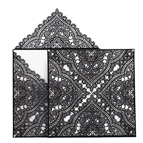 Black Invitations - 24pcs Lace and Hollw Wedding Invitations Card for Wedding Party Bridal Shower Engagement