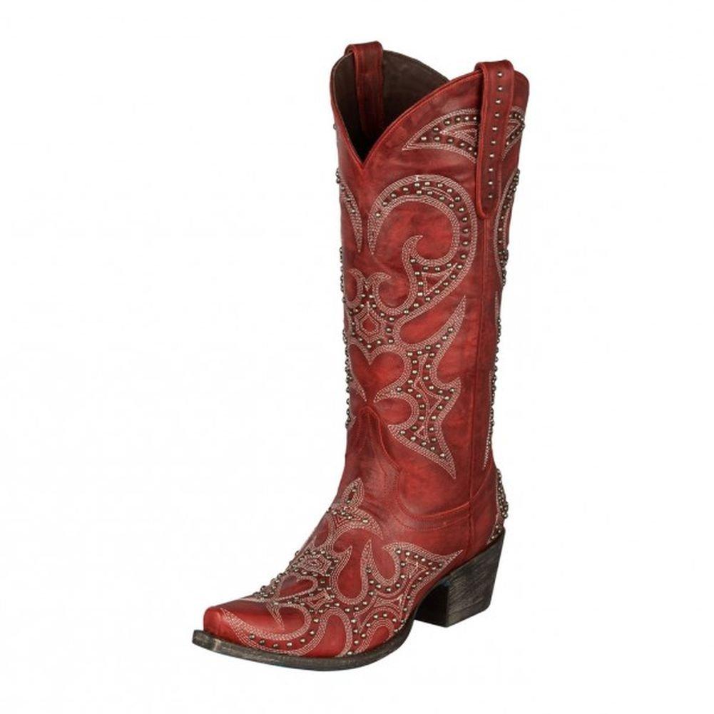 Lane Women's Lovesick Stud Vintage Cowgirl Boot Snip Toe Red 9.5 M US