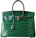 Cherish Kiss Padlock Bag Women Crocodile Leather Top Handle Handbags (35 Croco Emerald Green)