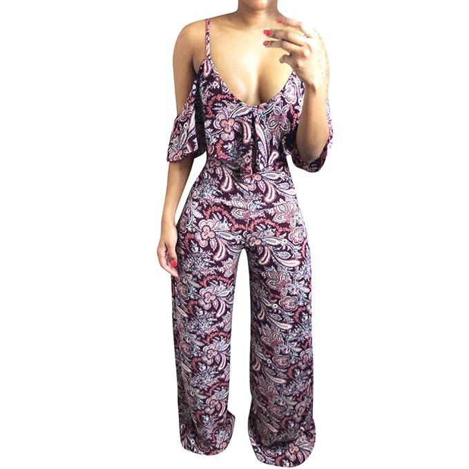 bbd375ed118 Chanyuhui Jumpsuits for Women Floral Flowy Back Hollow Long Pants  Sleeveless Beachwear Romper Jumpsuit Bodysuit (
