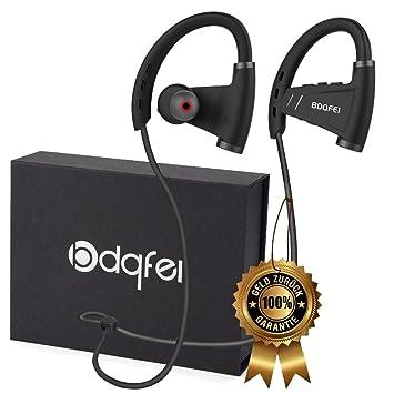BDQFEI(TM) - Auriculares inalámbricos Bluetooth 4.1 con micrófono, para hacer deporte, graves potentes, estéreo, a prueba de sudor IPX5, con cancelación del ...