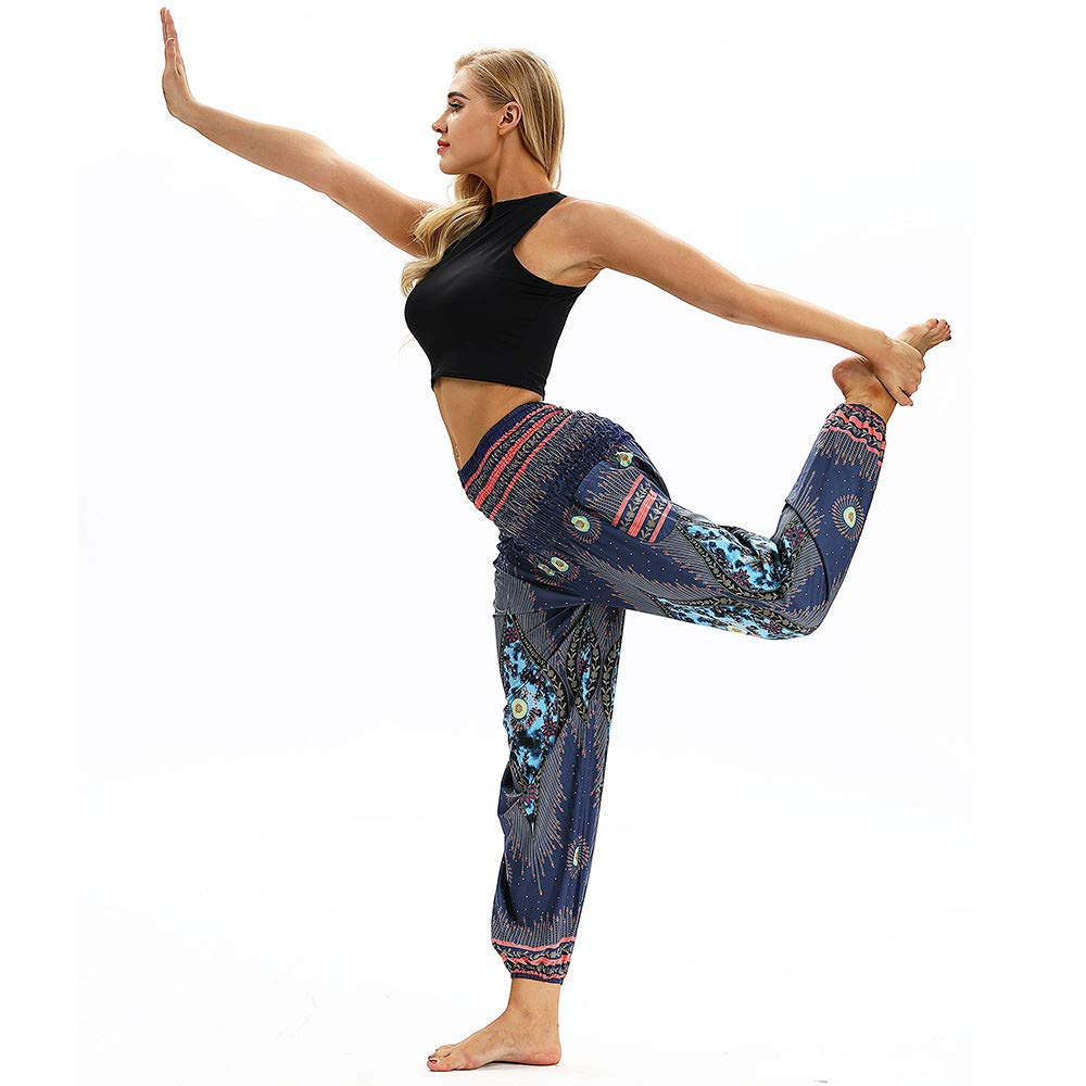 Harem Pants for Womens Ladies Girls Yoga Long Pants Smocked Waist Comfy Harem Leggings Solid Color Baggy Trousers for Women Plus Size