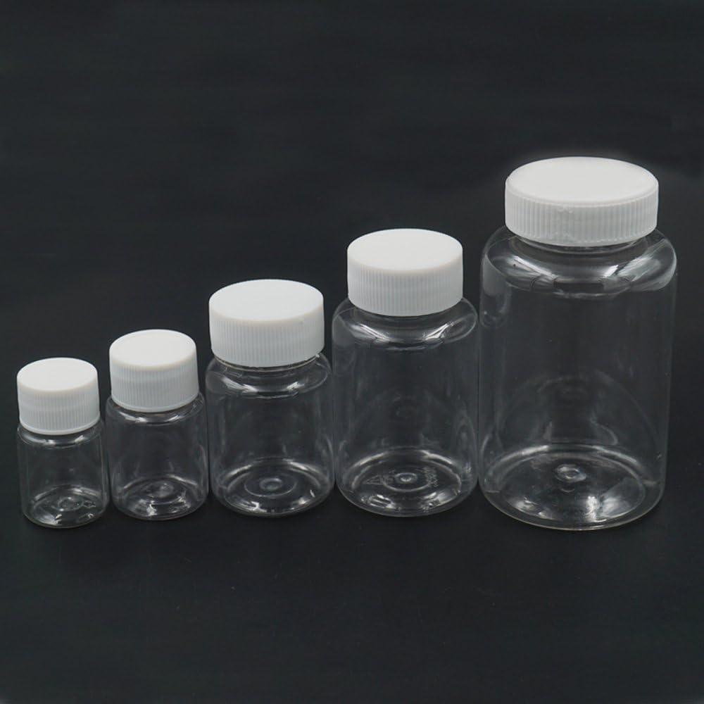 Bluemoona 20 Pcs - Empty Plastic 250ml Sample Vial Tube Storage Bottles Turn Screw Cover Cap Round