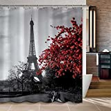 "Uphome Waterproof Grey Paris Eiffel Tower Custom Bathroom Shower Curtain - Cityscape Red Flower Polyester Fabric Bathroom Curtain Ideas (72""W x 72""H)"