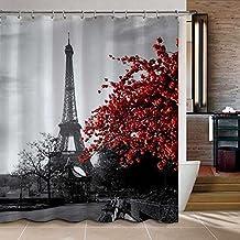 "Uphome Waterproof Grey Paris Eiffel Tower Custom Bathroom Shower Curtain - Cityscape Red Flower Polyester Fabric Bathroom Curtain Ideas (72""W x 72""H)"