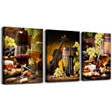 """Canvas Wall Art for living room bathroom Wall Decor for bedroom kitchen artwork Canvas Prints Wine glass painting 12"""" x 16"""" 3"""