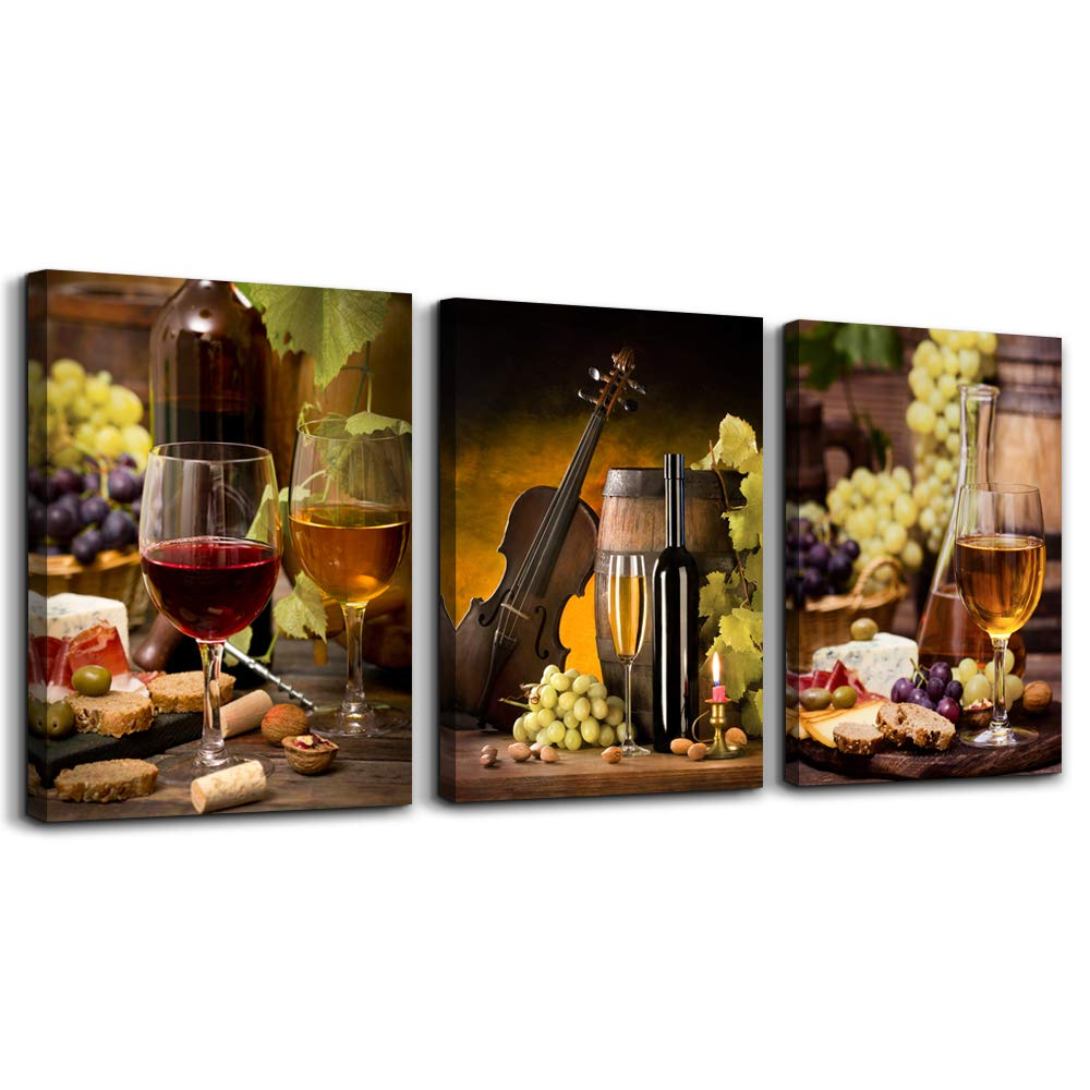 """TTHWALLART Canvas Wall Art for Living Room Bathroom Wall Decor for Bedroom Kitchen Artwork Canvas Prints Wine Glass Painting 12"""" x 16"""" 3 Pieces Modern Framed Office Home Decorations Family Picture"""