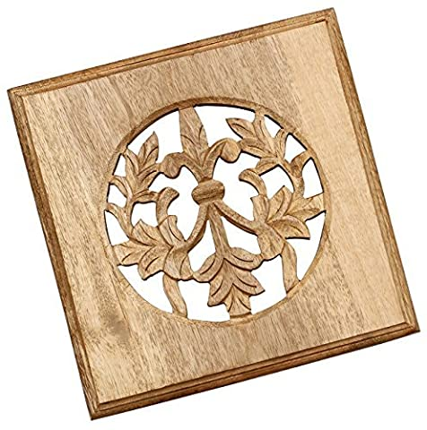 SouvNear 8.1 x 8.1 Inches Premium Quality Wood Trivet / Hot Dishes, Beige Color - (40 Counter)