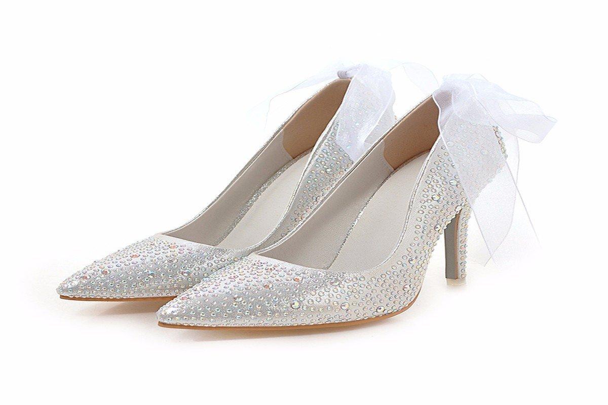 HBDLH Damenschuhe Geburtstagsgeschenk Crystal Schuhe 9Cm Ferse Schuhe Prinzessin Hochzeit Schuhe Geschenk - Box
