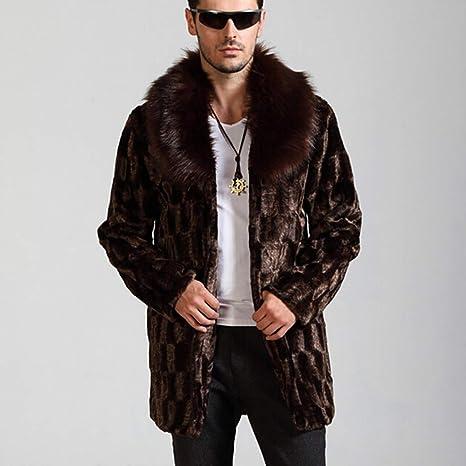 Chaqueta de piel sintética abrigo de piel de invierno hombre ...