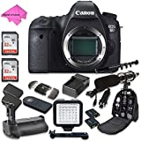 Canon EOS 6D 20.2 MP Full Frame CMOS Digital SLR DSLR Camera (Body Only) with 2pc SanDisk 32GB Memory Cards + Battery Power Grip + FREE Promotional Holiday Accessory Bundle