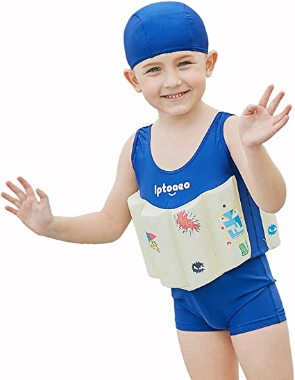 Float Suit Toddler Swimsuit Kids Swim Training Aid Jacket Vest Suit with Removable Buoyancy Float for Toddler Girls