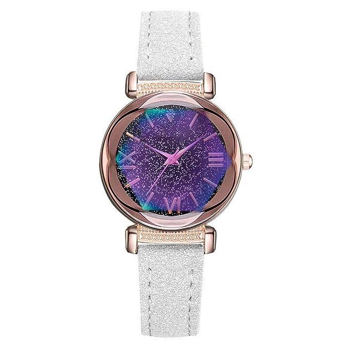 Javpoo Moda Simple Starry Dial Cinturón de Cuero Señoras Reloj de ...