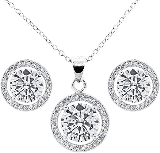 18K GOLD PLATED ROUND CUT CUBIC ZIRCONIA NECKLACE  EARRINGS  JEWELLERY SET